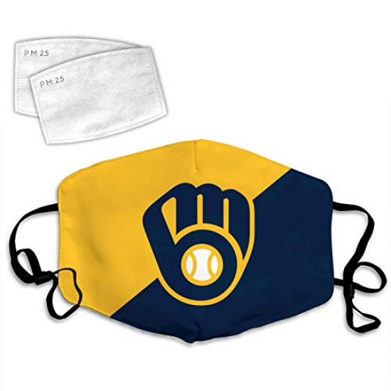 American Baseball Team Cloth Face Mask Earloop Game Bandanas with 2 PCS Filter for Boys Girls Womens mens, For MLB Team Milwaukee Brewers face mask
